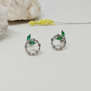 Round CZ Leaf Stud Earrings | 925 Silver
